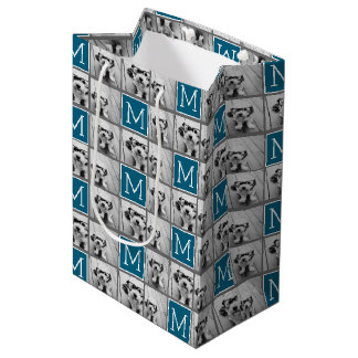 Blue Instagram Photo Collage Custom Monogram Medium Gift Bag
