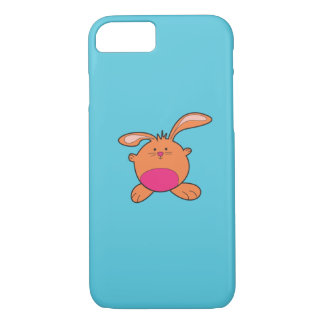 Blue iPhone 7 With Brown and Pink Bunny iPhone 7 Case