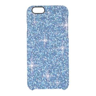 Blue iridescent glitter clear iPhone 6/6S case