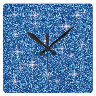 Blue iridescent glitter square wall clock