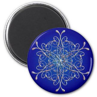 Blue Iridescent Snowflake Magnet