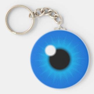 blue iris basic round button key ring