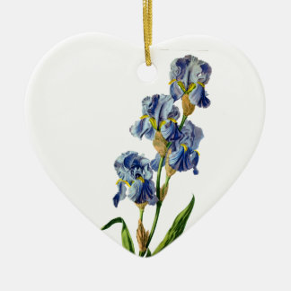 Blue Iris Drawn From Nature by Gerard van Spaendon Ceramic Heart Decoration