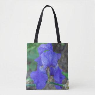 Blue iris flower all-over-print tote bag.