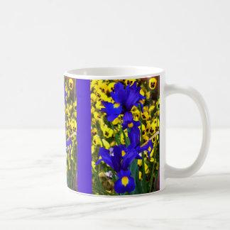 Blue Iris in Pansies Coffee Mugs
