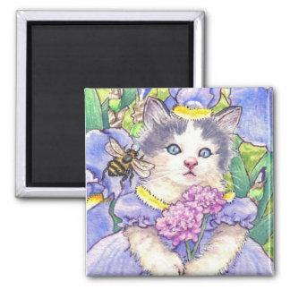 Blue Iris Kitten Magnet
