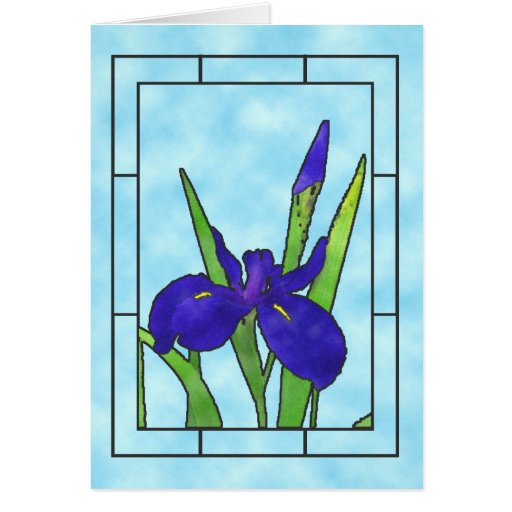 Blue Iris Thank You Note Card