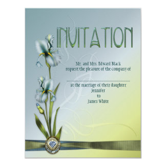 "Blue Iris Wedding 4.25"" X 5.5"" Invitation Card"