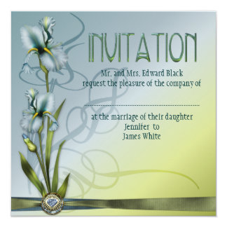 "Blue Iris Wedding 5.25"" Square Invitation Card"