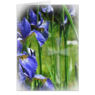 Blue Iris with Cross Greeting Cards