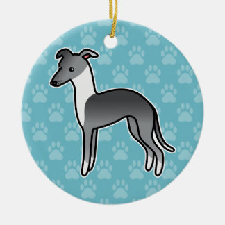 Blue Irish Italian Greyhound Cartoon Dog Round Ceramic Decoration