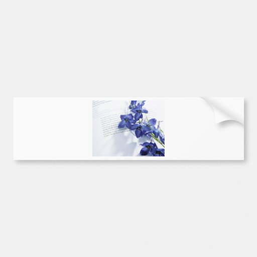 Blue Iris's laided upon a book Bumper Stickers