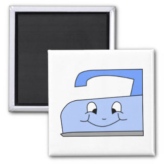 Blue Iron Cartoon. On White. Square Magnet