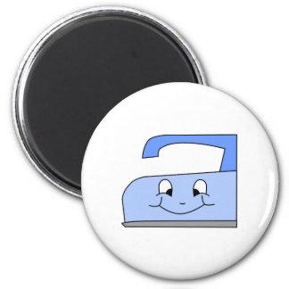 Blue Iron Cartoon On White Refrigerator Magnets