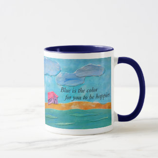 Blue is the color for you to be happier. mug