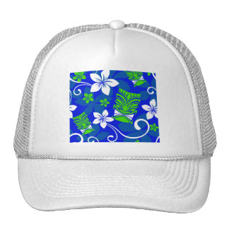 Blue Island Floral Tiki Masks Cap