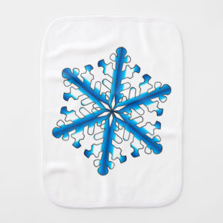 Blue Isolated Snowflake Burp Cloth