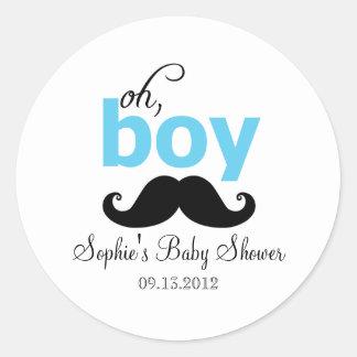 Blue It s a Boy Mustache Baby Shower Sticker