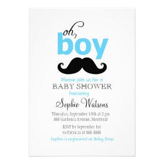 Blue It's a Boy Moustache Baby Shower Invitations