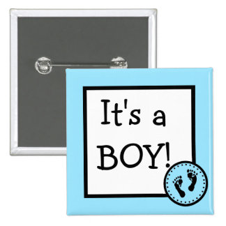 Blue It's A Boy With Baby Footprints 15 Cm Square Badge