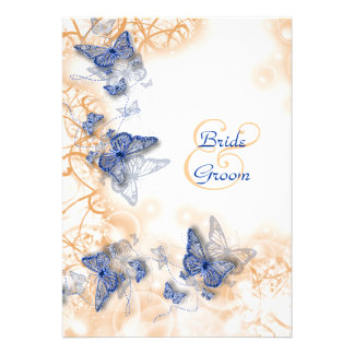 Blue ivory wedding engagement anniversary personalized invitation