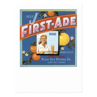 Blue J First-Ade Brand Oranges Postcard
