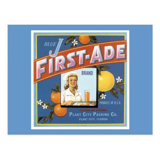 Blue J First-Ade Orange Vintage Label Postcards