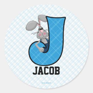 "Blue Jackrabbit Monogram ""J"" Personalized Stickers"
