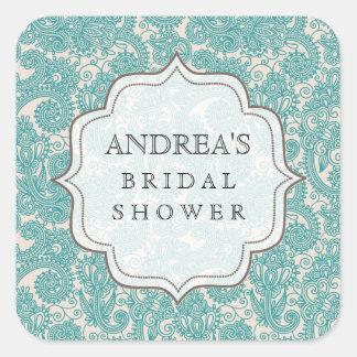Blue Jade Bridal Shower Dessert Table Tag Label Square Sticker