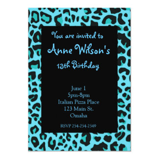Blue Jaguar Print Girls Invitation