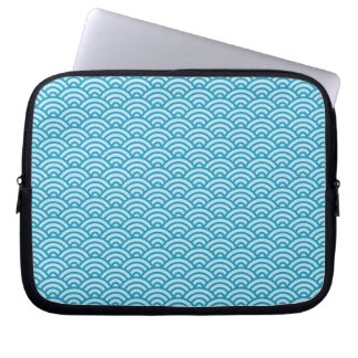 Blue Japaneese abstract wave pattern case Laptop Sleeves