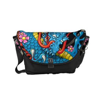 Blue Japanese Dragon Tattoo with Wind Bars Courier Bag