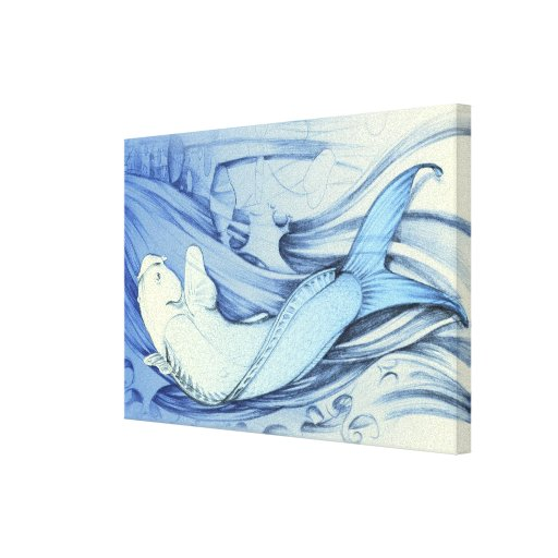 Blue Japanese fish Gallery Wrap Canvas