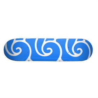 Blue Japanese style waves Custom Skate Board