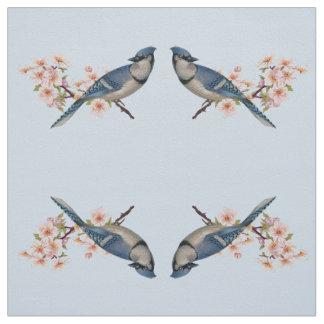 Blue Jay & Cherry Blossom Fabric