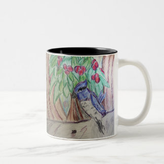 Blue jay Christmas Two-Tone Coffee Mug