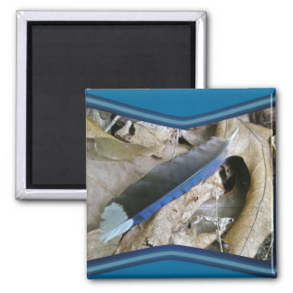 Blue Jay Feather Coordinating Items Square Magnet