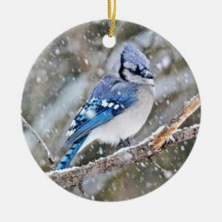 Blue Jay in a Snowstorm Ceramic Ornament