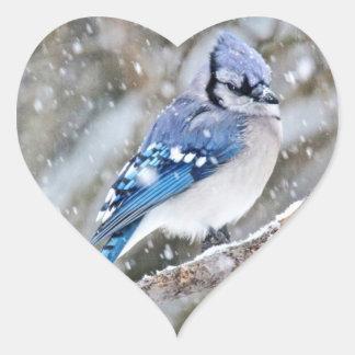 Blue Jay in a Snowstorm Heart Sticker