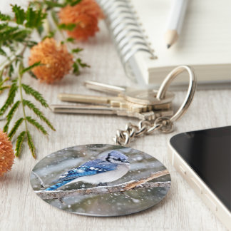 Blue Jay in a Snowstorm Key Ring