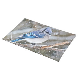 Blue Jay in a Snowstorm Placemat