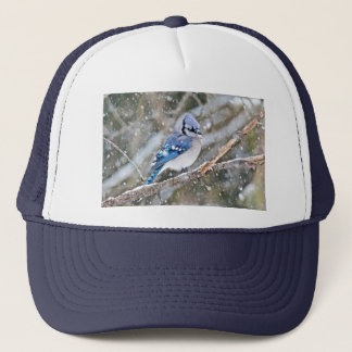 Blue Jay in a Snowstorm Trucker Hat
