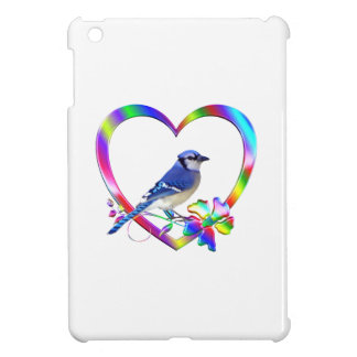 Blue Jay in Colorful Heart iPad Mini Cover