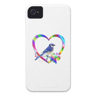 Blue Jay in Colorful Heart iPhone 4 Case