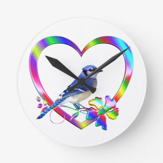 Blue Jay in Colorful Heart Round Clock