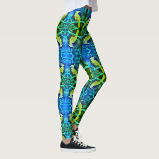 Blue Jay In Pines - Lime Green Leggings