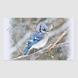 Blue Jay in Snow Christmas Holiday Rectangular Sticker