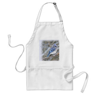 Blue Jay in Snow Christmas Holiday Standard Apron