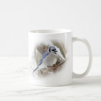 Blue Jay in Winter Snow Coffee Mug