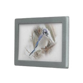 Blue Jay in Winter Snow Rectangular Belt Buckle